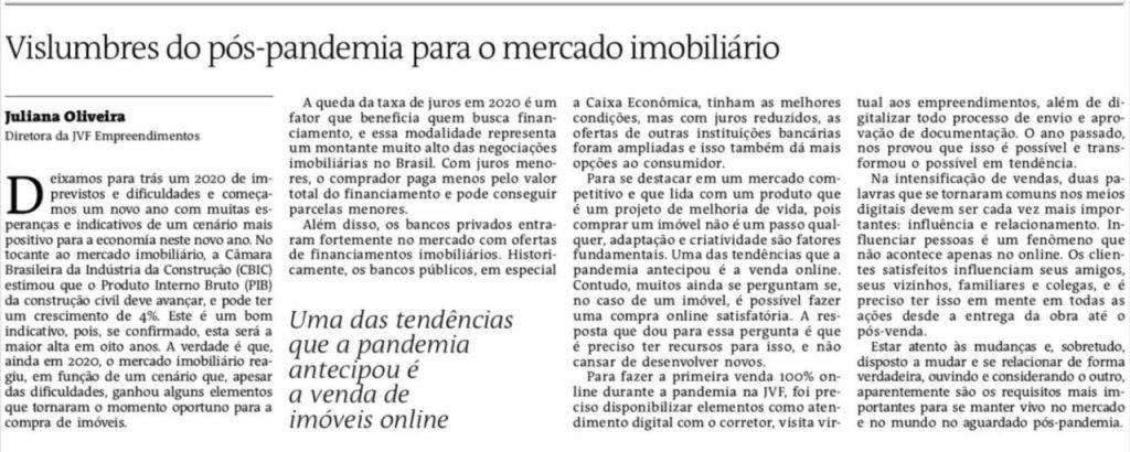 Artigo Juliana Oliveira no Jornal A Tarde